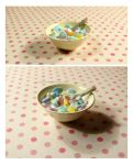 Miniature bowl with Sugar Cereal and Milk by Luna-Goodies