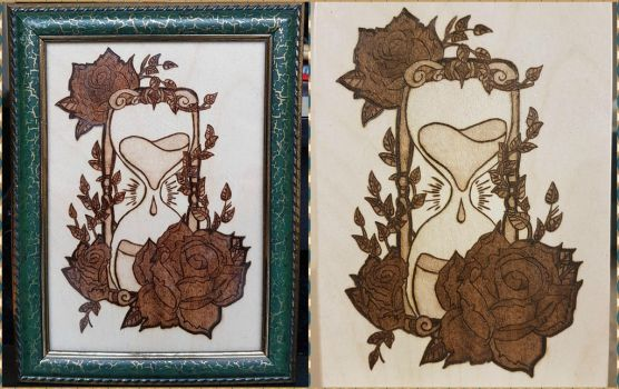 Woodburning - Hourglass with Roses by Stepher17
