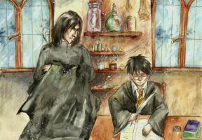 Harry and Snape by SirSubaru