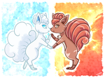 blue ice and red flames by PlatinaSena