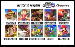 Top 10 Super Smash Bros. for Wii U Characters by SpiderMatt512
