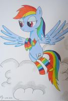 Rainbow Dash in clouds by Fire-Natsu