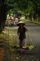 Vietnam - banana selling girl by sevenths