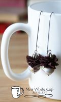 earrings: China brown lace buff by Margotka