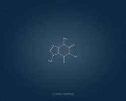 Caffeine Molecule Denim Wallpaper in Blue by averywebdesign