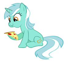 Lyra with a pizza by ABEaly2