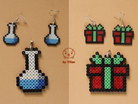 Hama bead pendants and earrings (on Etsy) by VilDeviant