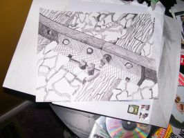 Train Tracks Crosshatching Pen and Ink Drawing by smileymileysworld