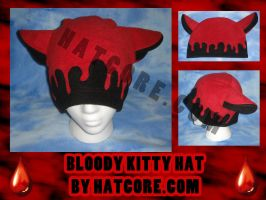 Bloody Kitty Hat Fleece Goth by HatcoreHats