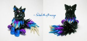 Black Blue and Purple Fantasy Wolf Pup by SweetMayDreams