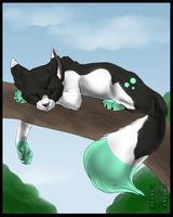 Resting on a tree by Husky-Foxgryph