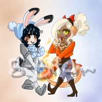 A Bunny and a Dragon. Adoptables~ [OPEN] by 8-bitCH