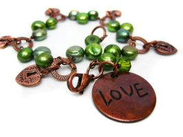 Green and Copper Bracelet by pila12903