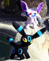 Espeon and Umbreon Plush by Patchwork-Shark