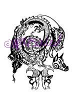 Chinese Horoscope Family Tribal Tattoo by wolfsouled