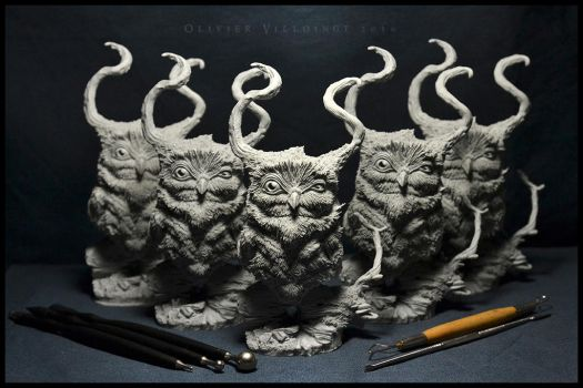 Horned Owl Resin Bust by Olivier-Villoingt