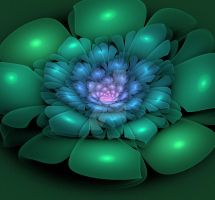 Blue and Green Fractal Flower by dreams2media