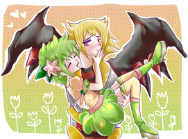 .::Giratina and Shaymin::. by PinkAngelChao