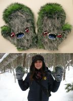Green monster mittens by loveandasandwich