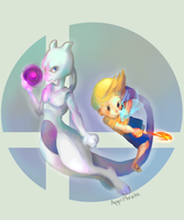 Mewtwo and Lucas DLC by ApplFruit