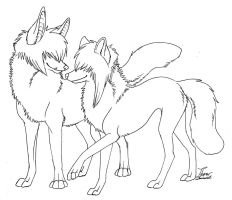 Lineart-Scene Wolf Couple by itsmar