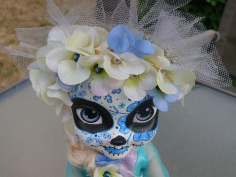 Sugar Skull Elsa all done close up by Fallonkyra