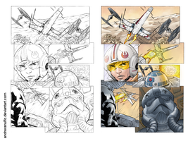Coloring side-by-side / X-wing Vs Tie-Fighter by andreranulfo