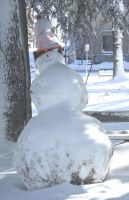 Snowman with Funny Hat by Vivienne-Mercier