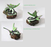 Luna Moth Dragon on Petrified Wood by GabriellesBabrielles