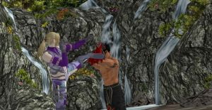 Jin and Nina- Sparring at the Waterfalls by Wellsy71