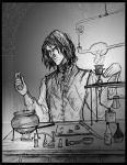 Snape doing potions by HILLYMINNE