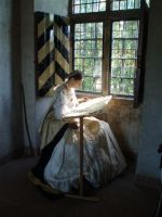 16th century lady embroidering by DeredereGalbraith