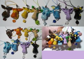 Eeveelution Dangly Set by ChibiSilverWings