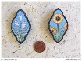 Unique Floral Magnets - Sunflowers and Lilies. by emla