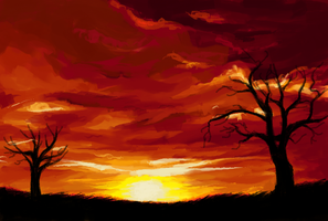 [MS Paint] Burning Sky by SymmetryBox