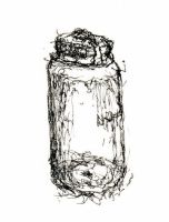 Water Bottle -- Non-Dominant Left Hand Sketch No.2 by jdb2