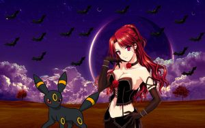 Vampire trainer and her pokemon onbreon by laila549
