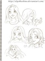 Rapunzel sketches by Ely18Hoshino