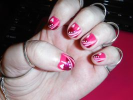 Pink and white nail art design 2 by Amazinadrielle