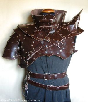 Leather armour and gorget by Lluhnij