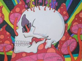 Colorful Shroom Skull by ToniTiger415