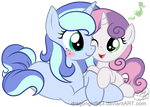 Gift: Night Whispers and Sweetie Belle by DragonGirl983