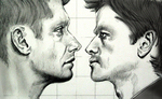 Dean and Cas in pencil by tripperfunster