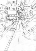 1 point perspective landscape lineart by BourneLach