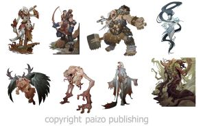 Pathfinder character illustrations by Rayph