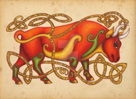 Red Bull on Parchment by AoifeTighe