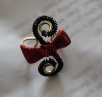 Red and black wire ear cuff No. 2 by Jessicapilot901