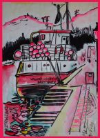 Dartmouth Quay boat WH in pink by micklorkins