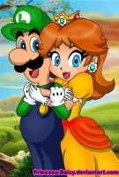 Luigi and Daisy - happy couple by Princesa-Daisy