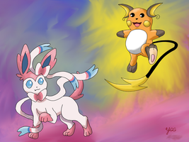 PAX East 2014 Exclusive #3: Sylveon and Raichu by YoshiGamerGirl